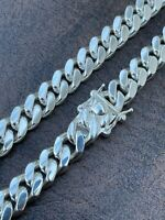 Men's Miami Cuban Link Chain Real 925 Sterling Silver Box Clasp Big 8mm Hip Hop