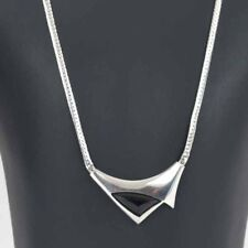 Danish silver necklace Made by N.E.From set with special cut black Onyx
