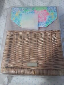Lilly Pulitzer GWP Wicker 2 Wine Basket Picnic Party Holder Carrier New