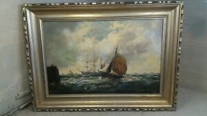 H Stanley ,Antique Oil Painting ,Marine , Tall Ships ,Seascape