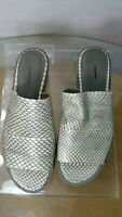 Vince Saskia Snake Mules Slides Gray Leather Platform Sandals SIZES  6 And 6.5