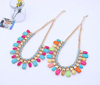 Womens Lady Stylish Bib Statement multi layer mixed Colour necklace Collar