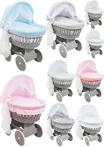 GREY WICKER HOODED WHEELS CRIB/BABY MOSES BASKET + COMPLETE BEDDING