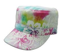 Hawaiian Tie Dye Cotton Hat Adjustable Cap Hawaii Hibiscus Buckle Back NIB