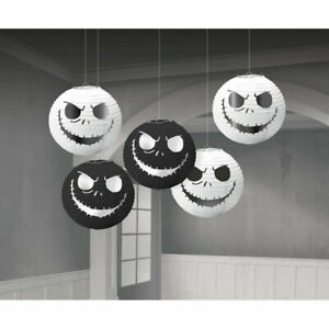 5 Nightmare Before Christmas Mini Paper Lanterns Jack Skellington Foil Face xmas