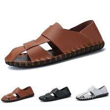 Men's Slip on Closed Toe Hollow out Breathable Flats Casual Beach Sandals Shoes