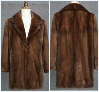 Men Furry Mink Fur Jacket Mid Long Winter Coat Outwear Lapel Casual Overcoat New