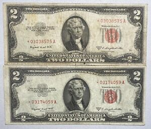 2- 1953- B $2 United States Note, Red Seal **STAR** Notes