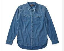 RRL Ralph Lauren Vintage Inspired indigo Stripes Worthy Selvedge Work Shirt- L