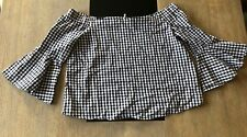 BNWT Cotton On Black & White Gingham Off The Shoulder Top Size XS