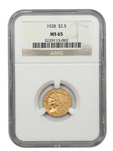 1928 $2 1/2 NGC MS65 - Gem Type Coin - 2.50 Indian Gold Coin - Gem Type Coin