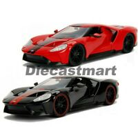 JADA BIG TIME MUSCLE 1:24 2017 FORD GT DIECAST MODEL CAR DISPLAY BOX RED BLACK