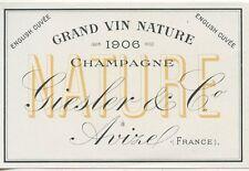 ETIQUETTE DE CHAMPAGNE / GRAND VIN NATURE CHAMPAGNE GIESLER & Co. AVIZE 1906