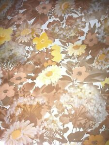 """VTG 60'S-70'S FLORAL DAISY YELLOW BROWN WALLPAPER OPEN CUT LOT SMALL ROLLS 24"""" W"""