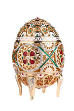 Decorative Carved Faberge Egg / Trinket Jewel Box with Peacock 3.7'' (9.5 cm)