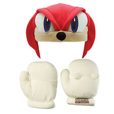 Knuckles Cosplay Plush Gloves with Fleece Cap Hat Costume Sonic the Hedgehog