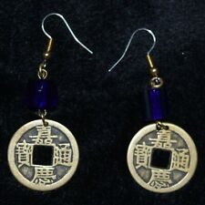 Handmade Bronze Asian coin earrings with blue glass beads