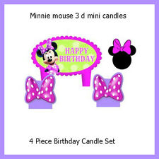 Minnie Mouse Happy Birthday Party Candle Set 4 Piece Themed Cake Topper Girls
