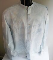 BANANA REPUBLIC Denim 100% Cotton Banded Collar Tie Dye LS Shirt SZ MEDIUM