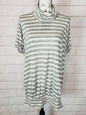 We the Free Womens Short Sleeve Gray White Striped Mock Neck Blouse Top Size XS