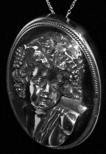 WOW!Young Girl STERLING *HENRYK WINOGRAD* 3D HIGH RELIEF Brooch PENDANT Necklace