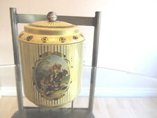 Vintage Cookie Candy tin with handle and suction lid Mule and farmer depiction