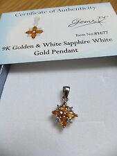 Stunning Gemporia Golden Sapphire  &  diamond in 9K white gold Pendant Gems TV