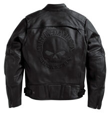 Harley Davidson Mens Reflective Willie G Skull Black Leather Jacket 98099-07VM M