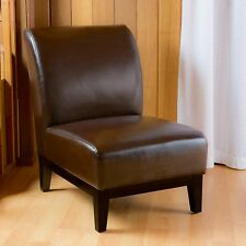 Elegant Brown Leather Slipper Armless Chair