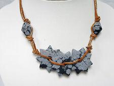 Schneeflocken – Obsidian STERNE Halskette STEINSCHMUCK mit ZIGENLEDER
