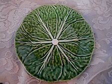 Vintage Bordallo Pinheiro Hand Painted Green Embossed Plate - Made in Portugal