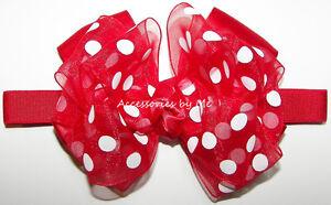 Baby Bow Headband Red Polka Dots Organza Disney Minnie Mouse Birthday Hair Band