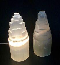 1 Selenite Lamp W/Cord Selenite Tower Lamp Crystal Lamp Gemstone Mountain Lamp.