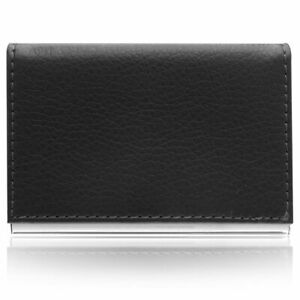 Aeropen Card Case (Black Leather/White Stitching) Model No. CC-37BLK Brand New
