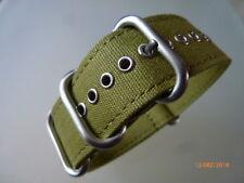 Uhrenarmband-24 mm Strap-Canvas-Nato-ZULU-Rundringe-Edelstahl-matt-Uhrband olive