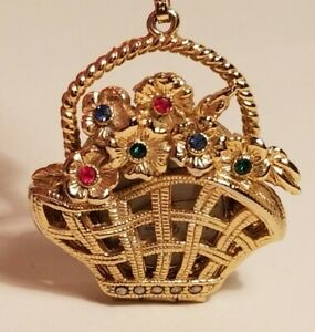 Victoria Lace Watch Pendant Jewelry Gold Tone Basket Of Flowers For Necklace
