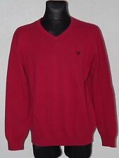 Crew Clothing Co mens cotton long sleeve crimson pink jumpers size L