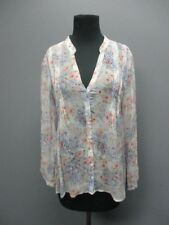 JOIE White Silk Long Sleeve V Neck Floral Button Front Casual Blouse Sz S EE8037