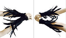 Goth Feather cuff wristbands Gloves Jet black burlesque costume cosplay
