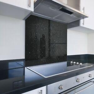 Toughened Printed Kitchen Glass Splashback - Bespoke Sizes - Black Glitter