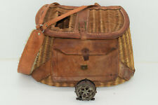 Antique Vintage Wicker & Leather Fly Fishing Trout Creel Basket With Front Pouch