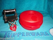 TUPPERWARE RED ROUND SANDWICH / SALAD / BAGEL KEEPER CONTAINER # 4440