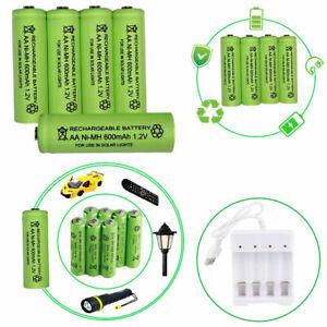 4x AA / Rechargeable Solar Light Batteries Battery 1.2v 600 700mAh AA Ni-MH