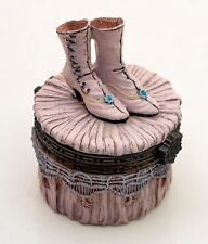 A beautiful lidded Trinket pot/jar. featuring a pair of victorian ladies boots