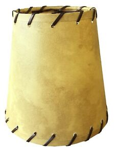 """Clip on Tan Hard Back Shades with Leather String Trim 4"""" x 6"""" x 6"""""""