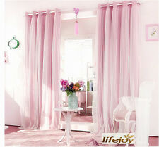 Blockout Eyelet Curtains Double Layer Pink Girls Curtain 180cm X 230cm (w X H)