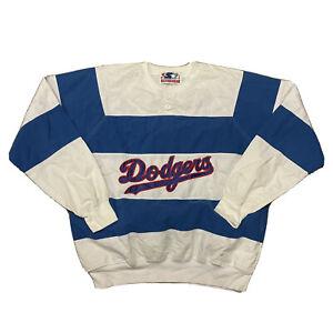 VTG STARTER 80s LA LOS ANGELES DODGERS WHITE BLUE SCRIPT SWEATSHIRT XL BASEBALL