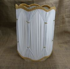 Hollywood Regency Lamp Shade Gathered Pinch Pleat Fabric White Mid Century