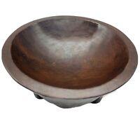 Antique VTG Primitive Folk Art Thick Hand Carved Heavy Wooden Centerpiece Bowl.!