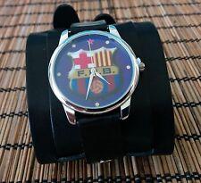 F.C.B Barca Barcelone Soccer Leather Watch wide band Women Men Artistic